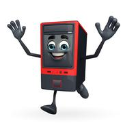 Stock Illustration of computer cabinet character is running