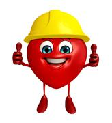 heart shape character with worker hat - stock illustration