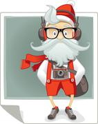 Santa Claus Hipster Style Cartoon - stock illustration