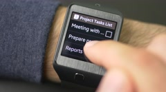 4K To Do Task List On Smartwatch Stock Footage