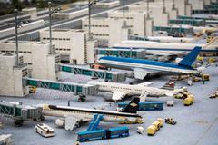 Airport of munich build in Lego atmosphere Stock Photos