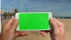 4K Green Screen Smartphone at the Beach Stock Footage