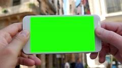 4K Green Screen Smartphone in Barcelona Stock Footage