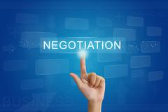 Hand press on business negotiation button on touch screen Stock Photos