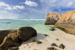 anse nord d'est in the north of mahe, seychelles - stock photo
