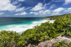 View to petite anse in la digue, seychelles from a hill Stock Photos