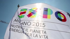Expo 2015 flag waving.mp4 Stock Footage