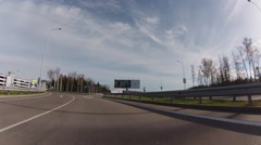 Driving thru Sheremetyevo airport.  View to paking places i Stock Footage