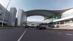 Driving thru Sheremetyevo airport. Terminal D Stock Footage