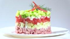 Vegetable salad on white plate Stock Footage