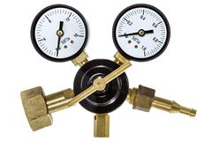 gas pressure regulator with manometer, isolated with clipping path - stock photo