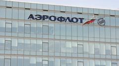 Aeroflot office near by Sheremetyevo airport Stock Footage
