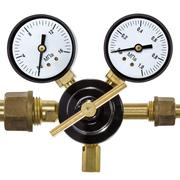 gas pressure regulator with manometer, isolated on white background - stock photo