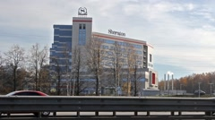 Just opened new Sheraton hotel in Moscow, Russia Stock Footage