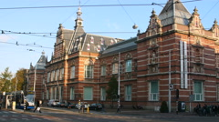 Old facade of the Stedelijk Museum, Amsterdam Stock Footage