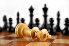 Checkmate white king. Chess concept. - stock photo