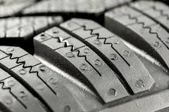 Winter tire detail Stock Photos