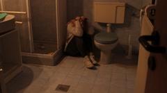 Depression, Depressed Woman in Old Bathroom - stock footage