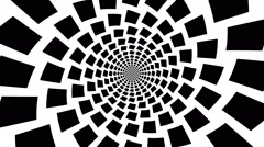 Concentric, dashing, rotating rectangle, square - optical, visual illusion - stock footage