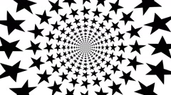 Concentric, dashing, rotating star, pentagram - optical, visual illusion - stock footage