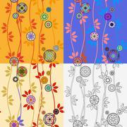 Four Patterns with Japanese Temari Balls - stock illustration