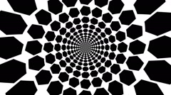 Concentric, dashing, rotating hexagon, sexangle - optical, visual illusion - stock footage