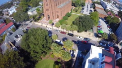 Flyover of a historic downtown neighborhood in Charleston, SC (2 of 2) - stock footage