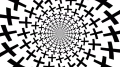 Concentric, dashing, rotating, plus, cross - optical, visual illusion - stock footage