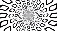 Concentric,  rotating, abstract symbols,  rings, hoops- optical, visual illusion - stock footage