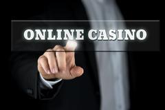 Online casino in a web navigation bar Stock Photos