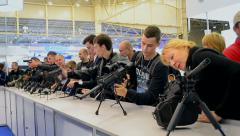 "Guns show, International Aviation and Space Salon ""AVIASVIT-XXI"", Kiev, Ukraine. - stock footage"
