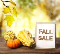 fall sale sign over yellow autumn leaves background - stock photo