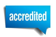 accredited blue 3d realistic paper speech bubble - stock illustration