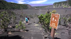 Kilauea Iki trail, Ahu stacked rocks Stock Footage