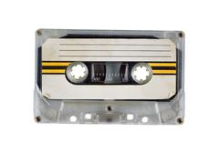 Old cassette tape on white Stock Photos
