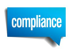 compliance blue 3d realistic paper speech bubble - stock illustration