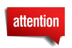 Attention red 3d realistic paper speech bubble Stock Illustration
