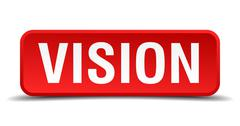 Stock Illustration of vision red 3d square button isolated on white