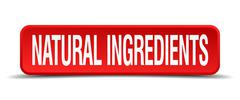 Natural ingredients red 3d square button isolated on white Piirros
