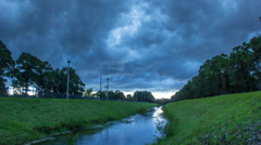 Storm Raining Over Canal Palm Beach County Florida Stock Footage