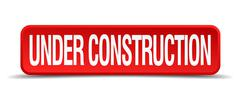 Under construction red 3d square button isolated on white Stock Illustration