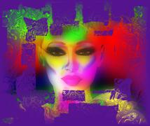 Abstract art, woman's face - stock illustration