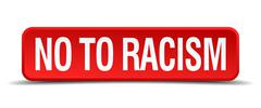 No to racism red 3d square button isolated on white Stock Illustration