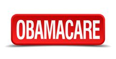 obamacare red 3d square button isolated on white - stock illustration