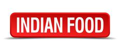 Indian food red 3d square button on white background Stock Illustration