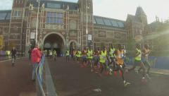 Amsterdam Marathon 2014 Rijksmuseum Stock Footage
