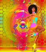 Colorful Retro Disco Dancer with Afro - stock illustration