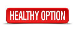 Healthy option red 3d square button on white background Piirros