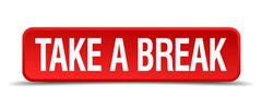 Stock Illustration of take a break red 3d square button isolated on white
