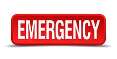 Emergency red 3d square button isolated on white background Piirros